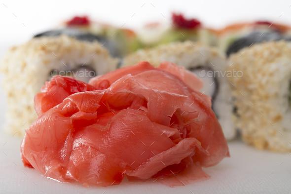 Hot pickled ginger for sushi rolls. - Stock Photo - Images