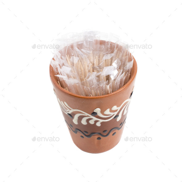 Clay cup with toothpicks. - Stock Photo - Images