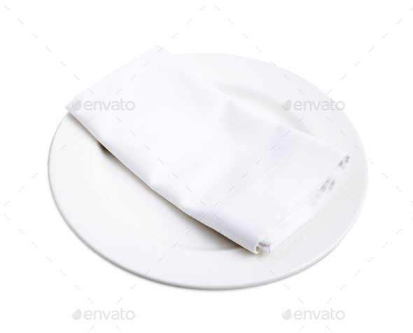 White napkin on a plate. - Stock Photo - Images