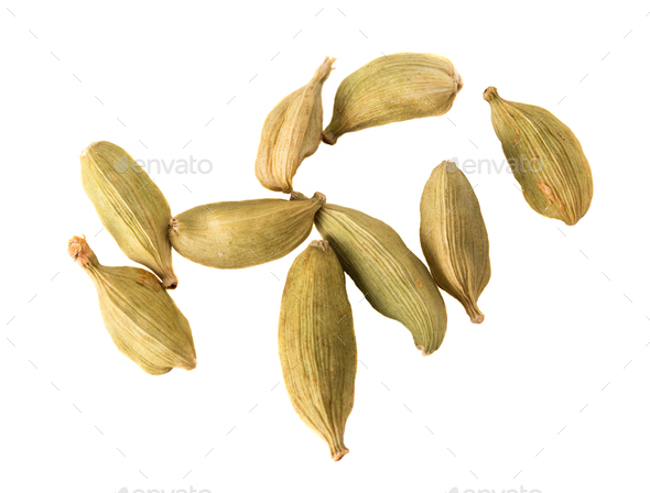 Close-up of sveral seeds Cardamom. - Stock Photo - Images