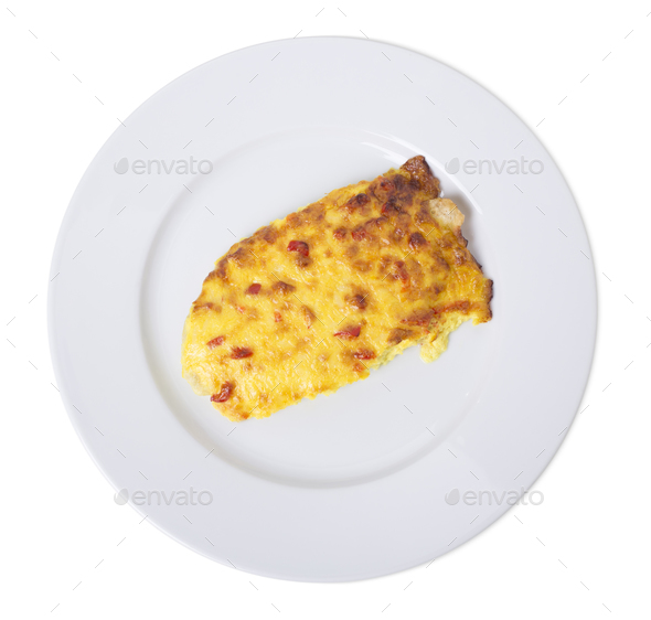 Scrambled eggs with red pepper. - Stock Photo - Images