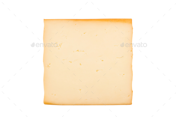 one smoked cheese slice on white background - Stock Photo - Images