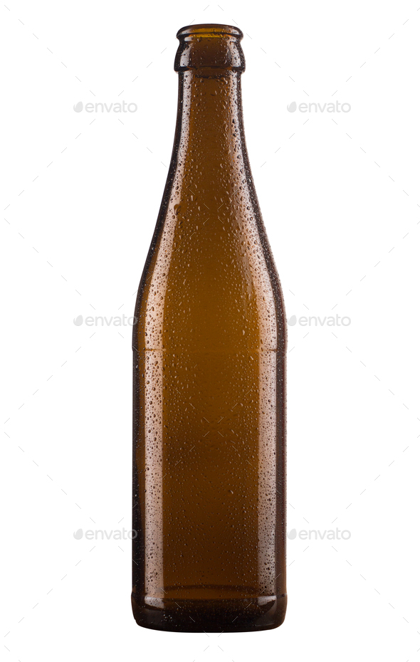 small brown beer bottle isolated on white background - Stock Photo - Images