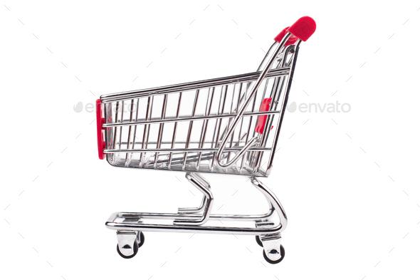 small aluminum shopping cart on white background - Stock Photo - Images
