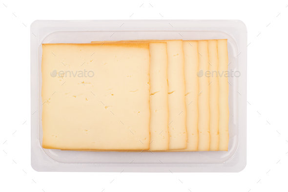 smoked cheese packaging on white background - Stock Photo - Images