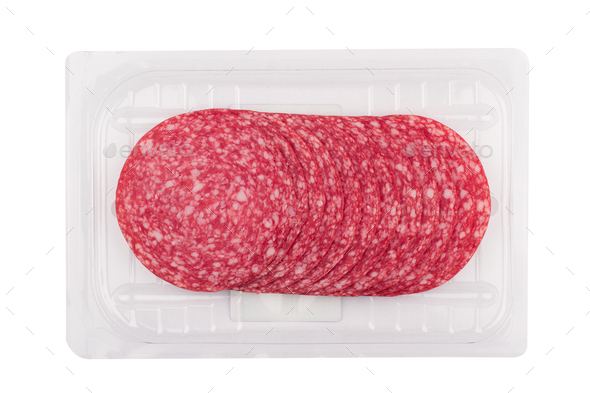 salami sausages packaging isolated on white - Stock Photo - Images