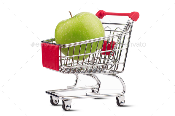 small aluminum shopping cart with green apple on white backgroun - Stock Photo - Images