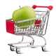 small aluminum shopping cart with green apple on white backgroun - PhotoDune Item for Sale