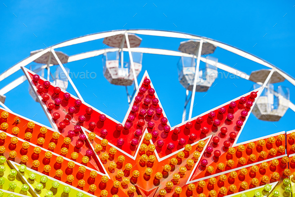 Amusement park details against the blue sky - Stock Photo - Images