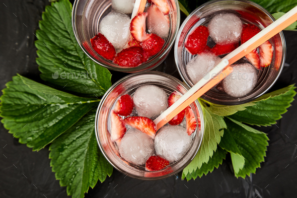 Strawberry detox water. - Stock Photo - Images