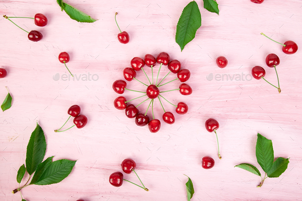 Ripe cherry berries and cherry  leaf - Stock Photo - Images
