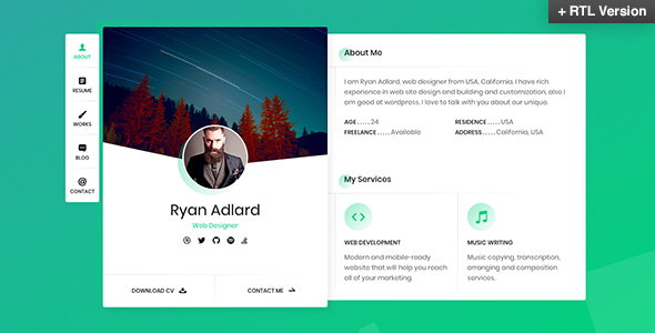 Image of Ryan - vCard / Resume / CV Template