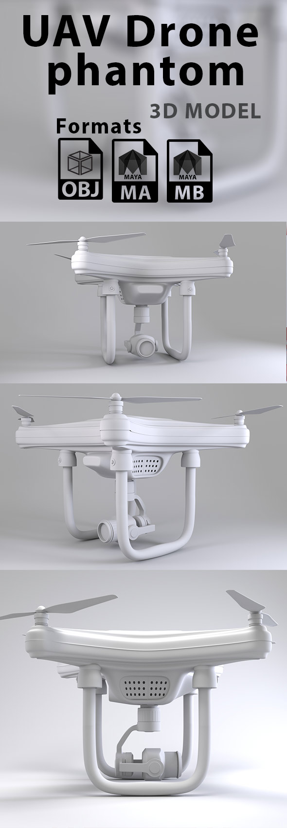 UAV Drone Phantom - 3DOcean Item for Sale