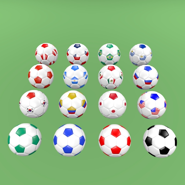 Football balls (flags of the world except Europe) - 3DOcean Item for Sale