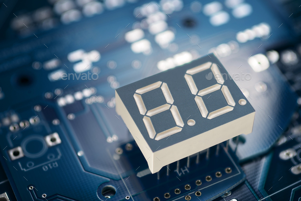 Printed circuit board and display - Stock Photo - Images