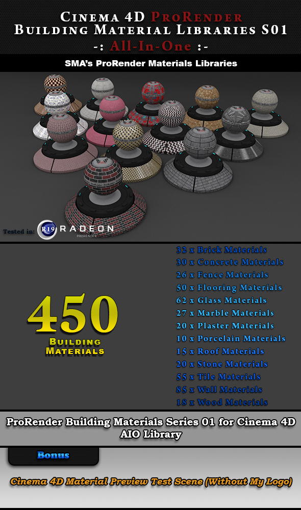 450 x ProRender PBR Building Materials S01 AIO for Cinema 4D - 3DOcean Item for Sale