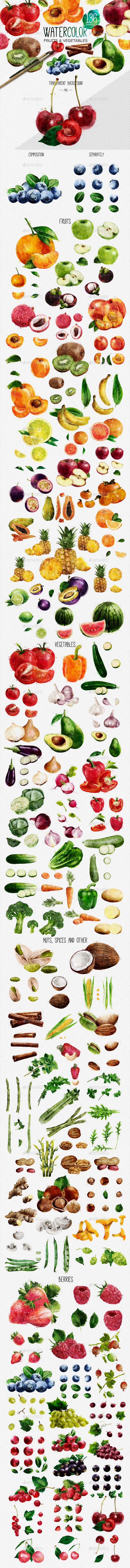 Watercolor Fruits And Vegetables - Objects Illustrations