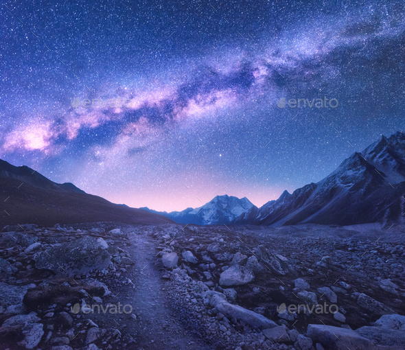 Milky Way and mountains. Space - Stock Photo - Images
