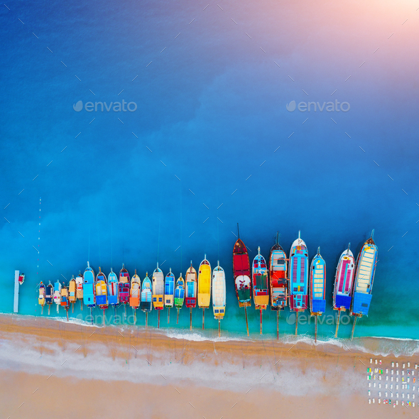 Aerial view of colorful boats in mediterranean sea - Stock Photo - Images