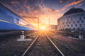 Railway station with blurred modern passenger train - PhotoDune Item for Sale
