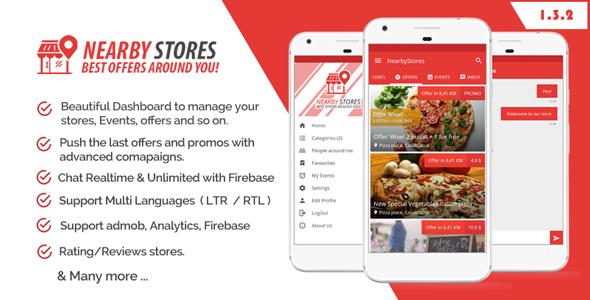 NearbyStores - Offers, Events & Chat Realtime + Firebase 1.3 - CodeCanyon Item for Sale