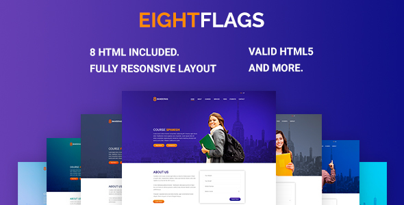 eightflags - courses online landing template html (landing pages) EightFlags – Courses Online Landing Template HTML (Landing Pages) 00 preview