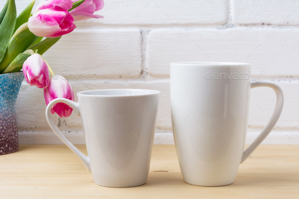 White coffee latte and cappuccino mug mockup with magenta tulip - Stock Photo - Images