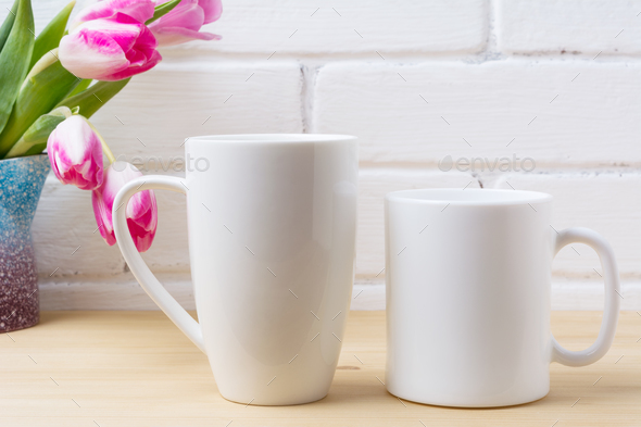 White coffee and cappuccino mug mockup with magenta tulip - Stock Photo - Images