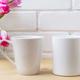 White coffee and latte mug mockup with magenta tulip - PhotoDune Item for Sale
