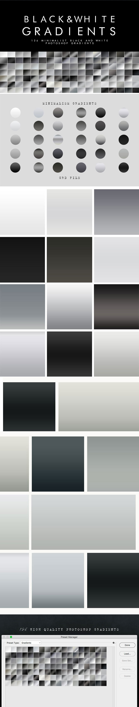126 Black and White Gradients - Photoshop Add-ons