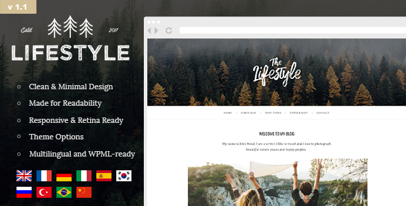 The Lifestyle - Vintage, Minimal and Simple WordPress Blog Theme - Personal Blog / Magazine