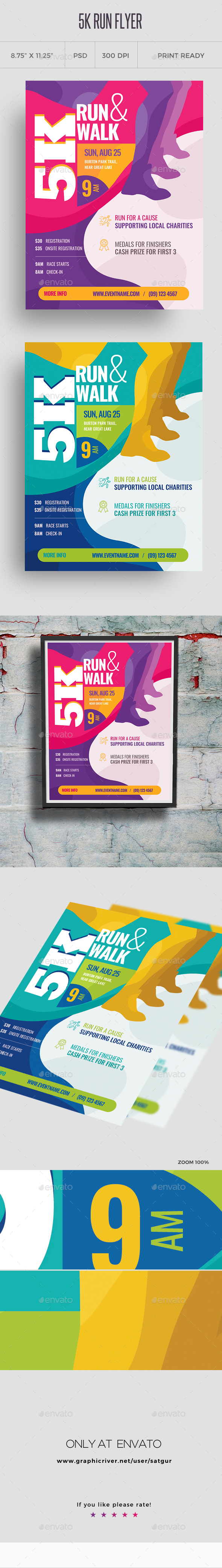 5k Run Flyer and Poster Template - Sports Events
