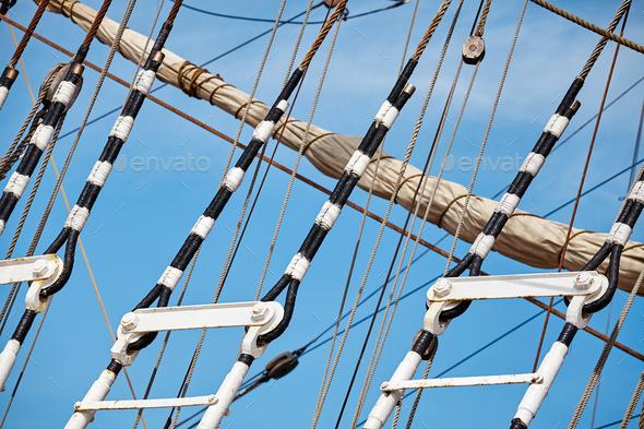 Old sailing ship mast details. - Stock Photo - Images