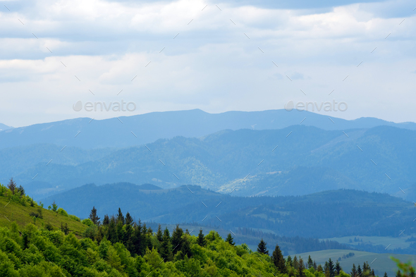 Magnificent landscape with blue mountains - Stock Photo - Images