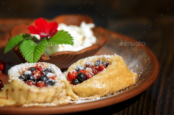 Pancakes,crepe with berry fruit - Stock Photo - Images
