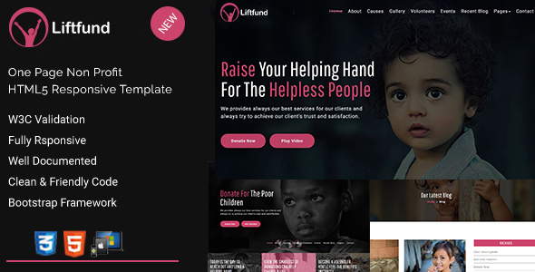 Image of Liftfund | Nonprofit HTML5 Template