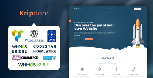 Kripdom – Responsive Web Hosting and WHMCS Themes
