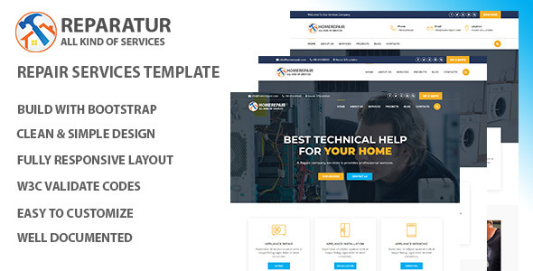 Homerepair – Maintenance Services HTML Template. - Site Templates