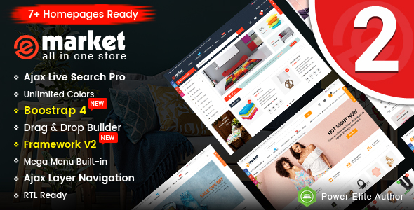 eMarket - Multipurpose Sectioned Drag & Drop Bootstrap 4 Shopify Theme