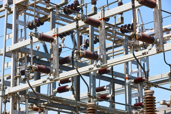 Power station structure detail. Energy plant. Electrical production. High voltage - Stock Photo - Images