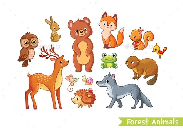 Vector Set with Forest Animals. - Animals Characters