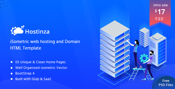 Image of Hostinza - Isometric Web Hosting, Domain and WHMCS Html Template