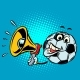 Fan with Megaphone. Football Soccer Ball. Funny