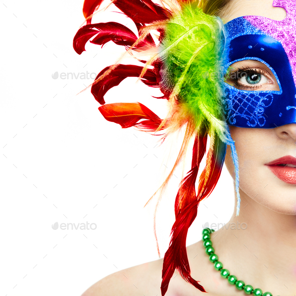 Beautiful woman in mysterious rainbow Venetian mask - Stock Photo - Images