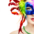 Beautiful woman in mysterious rainbow Venetian mask - PhotoDune Item for Sale