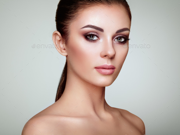 Beautiful woman face with perfect makeup - Stock Photo - Images
