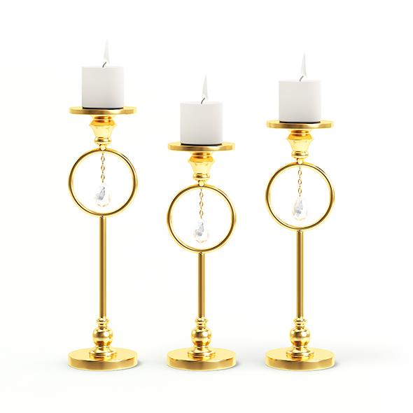 Golden Candlesticks 3D Model - 3DOcean Item for Sale