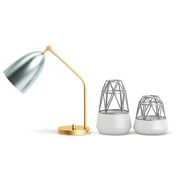 Golden Lamp and Decoration Vases 3D Model - 3DOcean Item for Sale