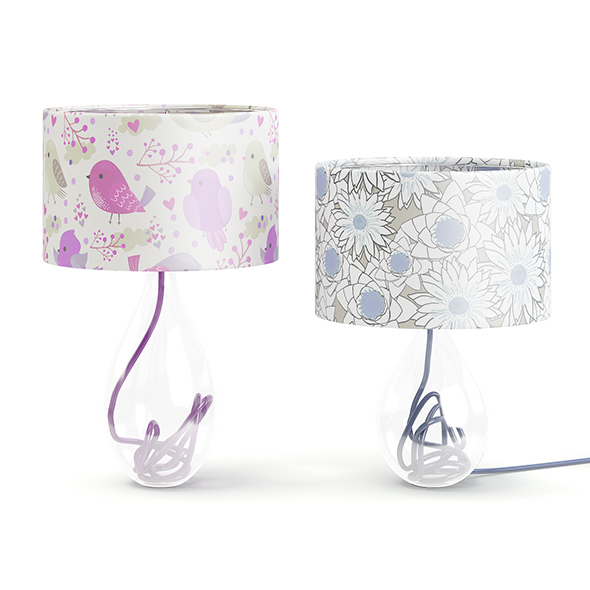 Two Glass Table Lamps 3D Model - 3DOcean Item for Sale