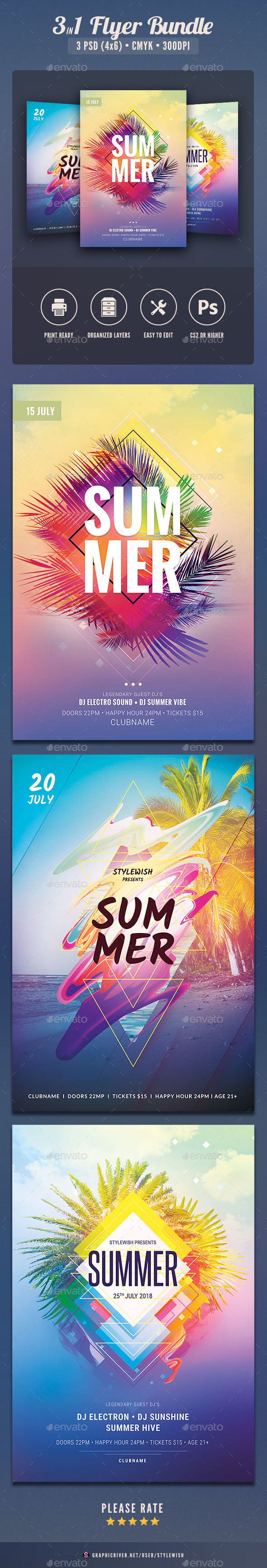 Summer Flyer Bundle Vol.18 - Clubs & Parties Events